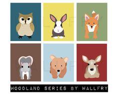 Woodland animals prints. Any 4 - 8x10 Nursery artwork forest animal. Owl, Fox, bear cub, rabbit, squirrel, deer. Prints by WallFry. $47.00, via Etsy.
