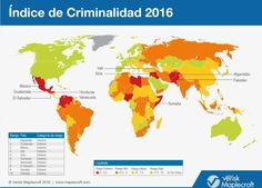 Mapa de índice de criminalidad. Cuáles son los 6 países de América Latina que están entre los 13 con peores índices de criminalidad en el mundo