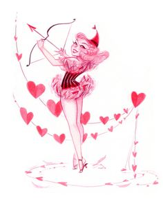 Cupid by Casey Robin Pinup Art, Valentines Day Photos, Valentines Diy, Cupid Drawing, Robin, Pin Up, Monster High Characters, Fanart, Skate Art