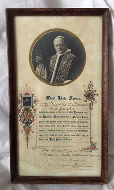 VTG Pope Pius XI Apostolic Blessing Plenary Indulgence Papal Seal Signed Framed