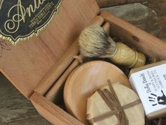 Wooden Mens Shave Set with Cigar Box. $55.00, via Etsy.