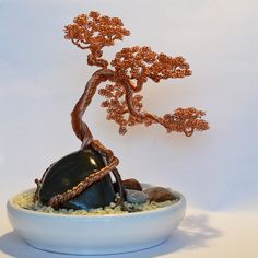 Semi cascade bonsai wire tree sculpture hand made by Minskis, $149.99  Wow, that's some serious wireworking!!!!!!  Gorgeous . . . .