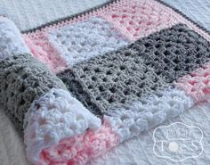 Granny Square Baby Blanket Pink Gray Nursery Pink by puddintoes