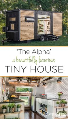 The Alpha Tiny House With Beautiful Natural Lighting - Off Grid World Alpha Tiny House, Small Tiny House, Modern Tiny House, Tiny House Cabin, Tiny Houses For Sale, Tiny House Plans, Tiny House Design, Tiny House On Wheels, Off Grid Tiny House