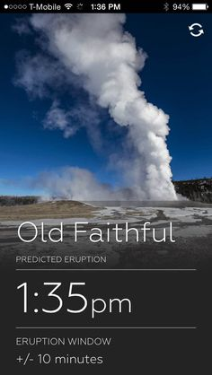 Yellowstone Geyser App