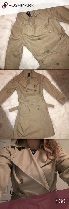 Classic Trench Coat   Gap This cute and feminine trench is the only fall jacket you'll ever need! I bought it from another posher and it is in mint condition, I just didn't like the way it fit / looked on me. I would say that this medium sized jacket is nudging toward a large - which great for wearing sweaters underneath! Material is 100% cotton. GAP Jackets & Coats Trench Coats