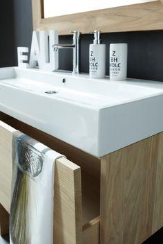 Chêne Basic   Line Art - Mobilier de salle de bain en bois massif