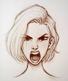 Hair Short Girl Drawing Illustration 63 Ideas For 2019 Girl Drawing Sketches, Face Sketch, Cool Art Drawings, Pencil Art Drawings, Drawing Faces, Drawing Style, Drawing Art, Drawing Ideas, Girl Face Drawing
