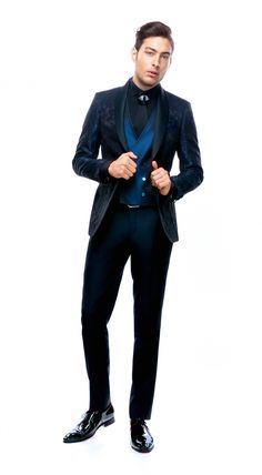 Bespoke wedding suit, navy blue color, with shawl lapel, single-breasted, from FILIP CEZAR ceremony suits collection of Baby Blue Suit, Green Suit, Pink Suit, Midnight Blue Suit, Aqua Rose, Burgundy Suit, Navy Blue Color, Black Suits, Wedding Suits
