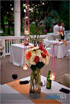 Wedding, Flowers, Reception, Pink, White, Green, Centerpiece, Orange