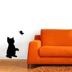 "Wandtattoo ""Katze Schmetterling2"""