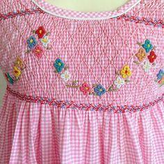 Vestitino a quadretti rosa punto smock fiori di Piccolaola su Etsy
