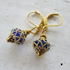 Small Cobalt Blue AB Gold Filigree Tibetan Gold by MystiqueCat, $9.99