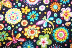 J.Swafing Babycord Schmetterlinge Libellen Blumen Kinder Cord Stoff