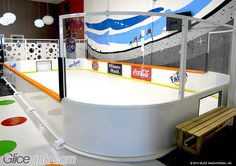 Glice, available in any size and shape, is perfect for: Hockey Schools A Portable solution for summer camps Small to large-scale community rinks As an addition to conventional rinks for more ice time Summer option for conventional ice rinks Home ice pad in a garage, backyard or basement (iGlice) Backyard Ice Rink, Indoor Ice Skating, Ice Hockey Rink, Hockey Bedroom, Hockey Decor, Kids Room Design, Ice Pad, Summer Camps, House Design