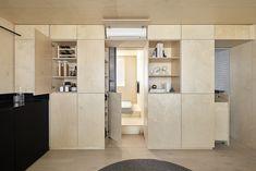 Itinerant Richmond: Micro Apartment Renovation in Melbourne Apartment Renovation, Apartment Design, Studio Apartment, Small Apartments, Small Spaces, Plywood Storage, Plywood Walls, Plywood Furniture, Laminate Cabinets