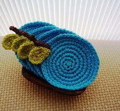 Apple Coasters Crochet Fruit Coasters Set of 4 by MonikaDesign