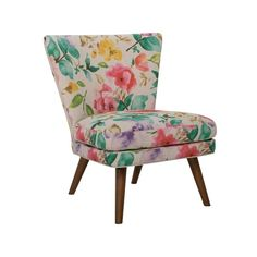 Wing Chair ($465) ❤ liked on Polyvore featuring home, furniture, chairs, accent chairs, upholstered furniture, floral upholstered chair, floral accent chair, upholstery chairs and fabric furniture
