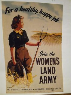 Poster for the Women's Land Army - usually referred to as 'Land Girls' Why Were They Called Land Girls?The Land Girls when known by their official name were called the WLA (Women's Land Army) but they. Vintage Advertisements, Vintage Ads, Vintage Posters, Retro Ads, Vintage Humor, Vintage Style, Pin Up, Penguin Books, Dig For Victory