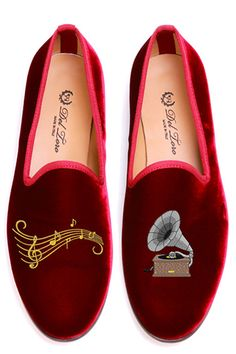 Gramophone Loafers by Del Toro for Preorder on Moda Operandi Funny Shoes, Cute Shoes, Red Flats, Red Shoes, Flat Shoes, Men's Shoes, Loafer Shoes, Loafers, Shoe Boots