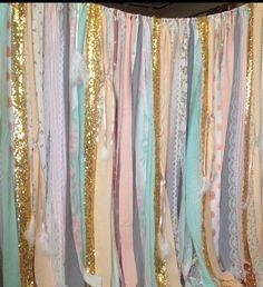 Boho Backdrop Gold Tribal Curtains Peach Mint Gray Rag Curtain 7 Ft Long  Aztec Ribbon Curtain