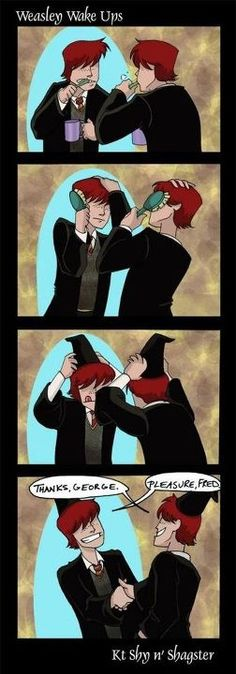 Funny Harry Potter Fred And George Weasley Twins 16 Ideas Harry Potter Humor, Arte Do Harry Potter, Harry Potter Universal, Harry Potter World, Yer A Wizard Harry, Harry Potter Comics, Hogwarts, Slytherin, Weasley Twins