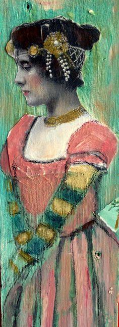 la Contessa Tall Girl on wood  mixed media portrait painting by MaudstarrArt