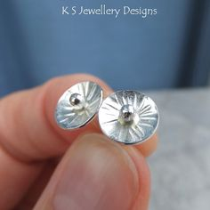 Sterling Silver Stud Earrings - Rustic Flower Discs (Daisy 3) Textured Metalwork £20.00