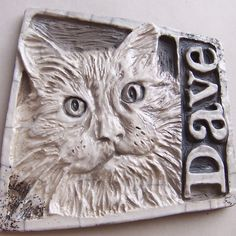 custom portrait tile - clay relief - hand carved