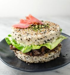The Sushi Burger that started it all! Tender Teriyaki Steak and a delicious runny egg with seasoned Sushi Rice Buns! A delicious, fun, & filling meal! Teriyaki Steak, Teriyaki Chicken And Rice, Sushi Burger, Burger Buns, Cooking Recipes, Healthy Recipes, Savoury Recipes, Chef Recipes, Sweets Recipes