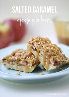 Salted caramel apple pie bars -sugared crust, cinnamon apples topped with the perfect crumble and salted caramel. YUM!