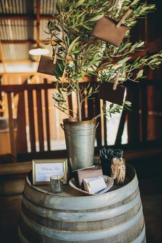 """A """"wishing tree"""" for guests to leave their wishes for the bride and groom"""