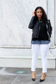 Moto Jacket & White Denim
