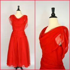 Vintage Red Formal Gown/Dress by JC Penney by KrisVintageClothing