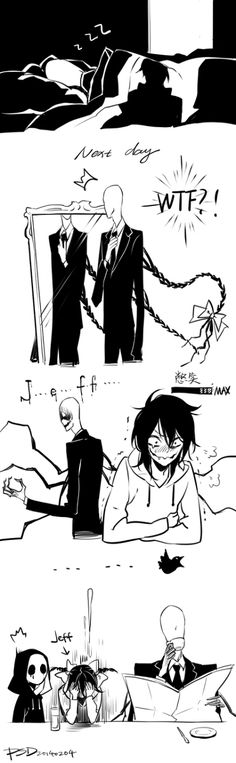 Slenderman, Jeff the Killer, and Eyeless Jack Jeff The Killer, Creepypasta Cute, Creepypasta Characters, Ben Drowned, Scary Stories, Horror Stories, Creepy Pasta Comics, Creepy Pasta Family, Eyeless Jack