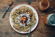 Coconut, quinoa, dates, and nuts create this visually pleasing mosaic of clean eating.