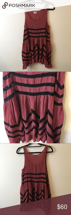 Free People Mauve Pink Lace Voile Slip Dress Use pink Mauve Slip Trapeze dress with no sleeves and is not lined! Worn once in great condition and is a size small Free People Dresses