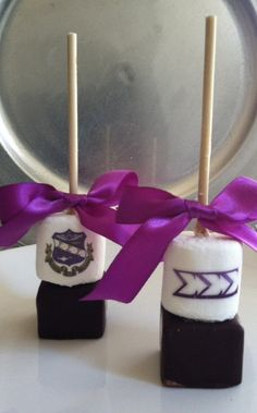What the...awesome! 6 Personalized hot cocoa stick Belgian chocolate Sigma Sigma Sigma Sorority party favor . $27.00, via Etsy.