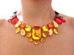 Fiery Statement Necklace, Red, Orange, Yellow Black Rhinestone Statement Necklace, Jeweled Bib Necklace, Jeweled Collar, Holiday Necklace
