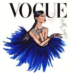 Hayden Williams Fashion Illustrations | Rihanna 'Diamond Ball' by Hayden Williams