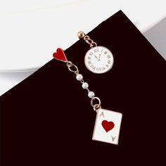 ZG New Geometric Poker Card Earrings Studs Enamel Asymmetric Clock Lon – Touchy Style