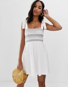 a65638dcb48 ASOS DESIGN tie strap shirred stripe sundress