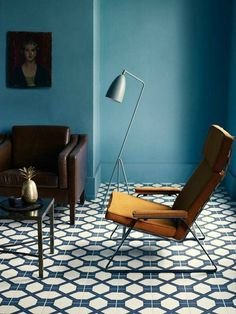 Still trying to figure out the right living room color - Inspirations carreaux et peintures bleus - Pom & Gus + colour theory + blue + mustard yellow + interiors + lounge