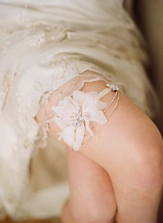 Silk petal and rhinestone swag garter | Twigs & Honey