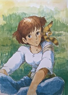 Illustrations done for the Nausicaa manga ===== Manga began running in monthly 'Animage' in Feb. 1982, collected in order of appearance ===== Notes: Nausicaa looking forward & smiling seemed extremely unlikely to me. Occasionally I was required to draw something like that for covers or posters, but she's just not that kind of character. And Nausicaa's face was never really consistent. She looks different in every picture.