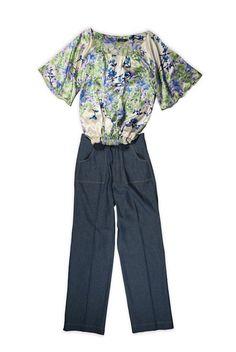 LOOK 3 Denim pants, blouse pure silk.