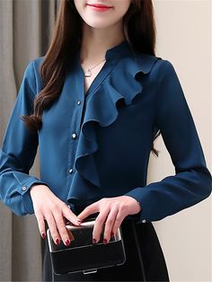 Band Collar Elegant Patchwork Long Sleeve Blouse Get the latest womens fashion online With of new styles every day from dresses, onesies, heels, & coats, # Blouse Styles, Blouse Designs, Stylish Dresses, Colorful Fashion, Fashion Outfits, Fashion Top, Cheap Fashion, Fashion Clothes, Blouses For Women