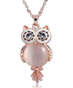 Owl Design Pendant Opal Necklace