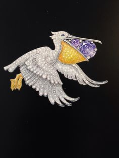 Van Cleef & Arpels pelican clip from the Les Voyages Extraordinaires collection.