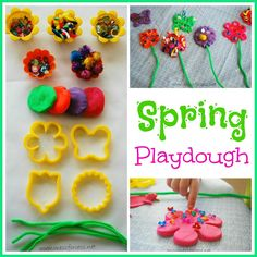 Playdough Games: Make Spring play dough for kids by using stuff you already Pinned by The Sensory Specturm.
